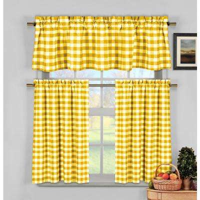 Kingston Kitchen Valance in Tiers/Yellow - 15 in. W x 58 in. L (3-Piece)