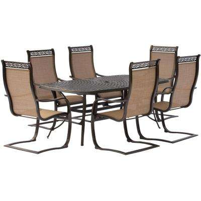 Manor 7-Piece Aluminum Rectangular Outdoor Dining Set with Spring Sling Chairs and Cast-Top Table