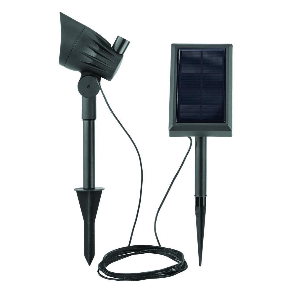 Solar Black LED 50 Lumen Metal Spotlight