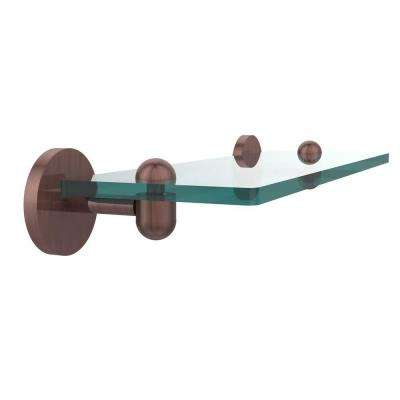 Tango 16 in. L x 2.75 in. H x 5 in. W Clear Glass Vanity Bathroom Shelf in Antique Copper