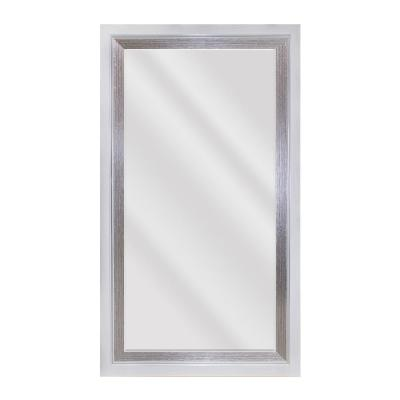 Large Rectangle Whitewood Beveled Glass Contemporary Mirror (55.5 in. H x 31.5 in. W)