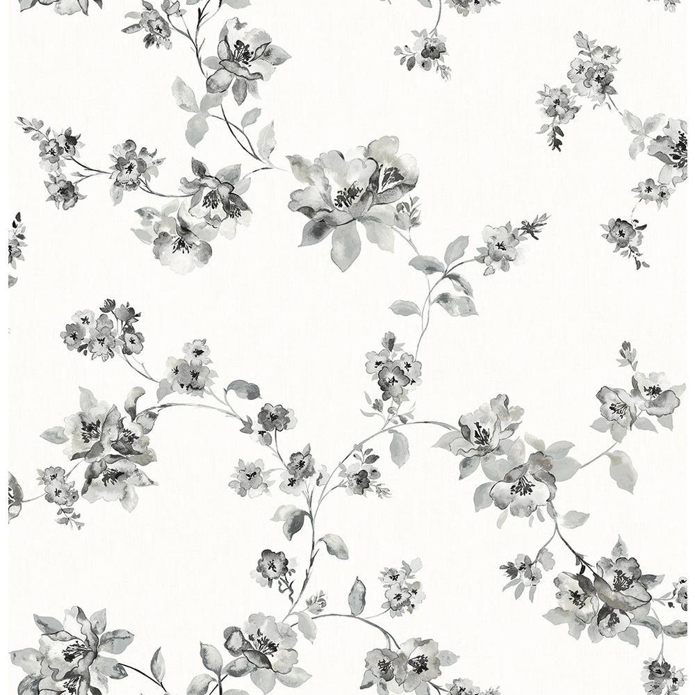 8 In X 10 In Cyrus Black Floral Wallpaper Sample