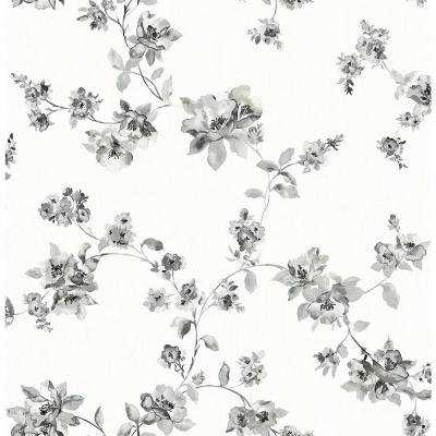 8 in. x 10 in. Cyrus Black Floral Wallpaper Sample