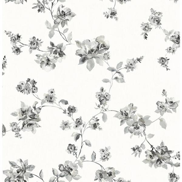 Chesapeake 8 in. x 10 in. Cyrus Black Floral Wallpaper Sample