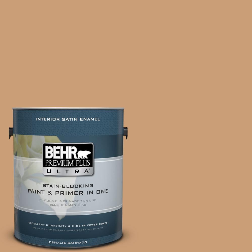 BEHR Premium Plus Ultra 1-gal. #ICC-62 Pumpkin Butter Satin Enamel Interior Paint