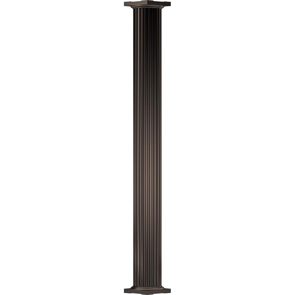 AFCO 7-5/8 in. x 8 ft. Textured Brown Non-Tapered Fluted Round Shaft (Load-Bearing) Endura-Aluminum Column