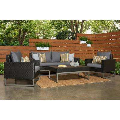 Milo Espresso 4-Piece Wicker Patio Deep Seating Conversation Set with Sunbrella Charcoal Grey Cushions