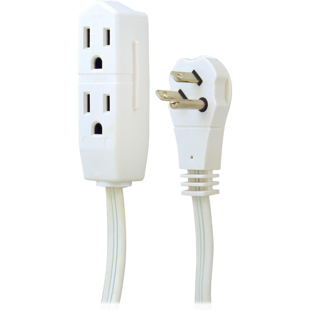 GE 8 ft. 3-Outlet Grounded Office Extension Cord, White/8 ft. cord Extend the reach of your office and small home electronics with the 8 ft. Office Extension Cord from GE. Equipped with 3 grounded outlets, the extension cord is perfect when you're in need of a few extra outlets. The 3-wire, 6-Gauge cord also features a low-profile, right-angle plug and is ideal for overhead projectors, video conferencing equipment, speaker phones, computer equipment and more. Color: White/8 ft. cord.