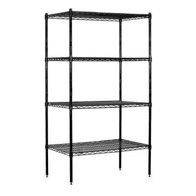 9600S Series 36 in. W x 74 in. H x 18 in. D Industrial Grade Welded Wire Stationary Wire Shelving in Black