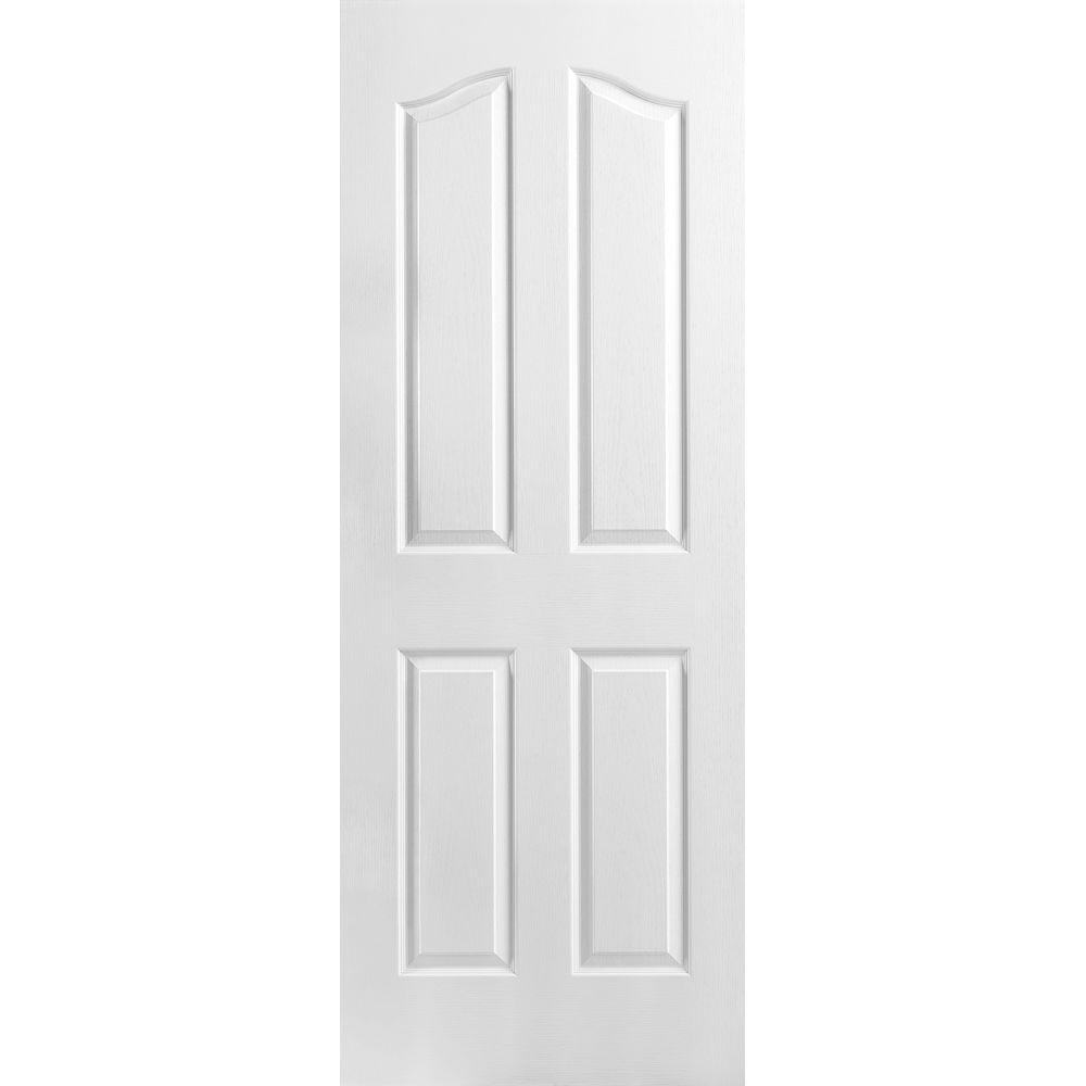 Masonite 28 In X 80 In 4 Panel Arch Top Hollow Core Textured Primed Composite Single Prehung