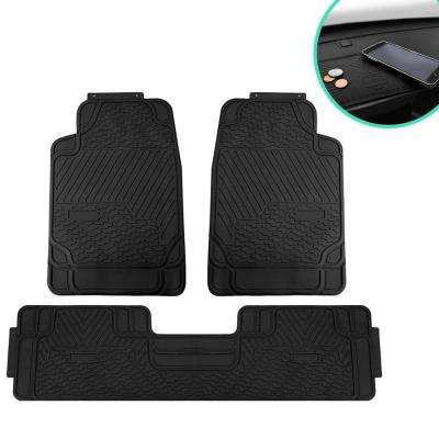 3-Piece 29 in. x 19 in. x 2 in. Heavy-Duty Durable Rubber All-Weather Protection Car Floor Mats