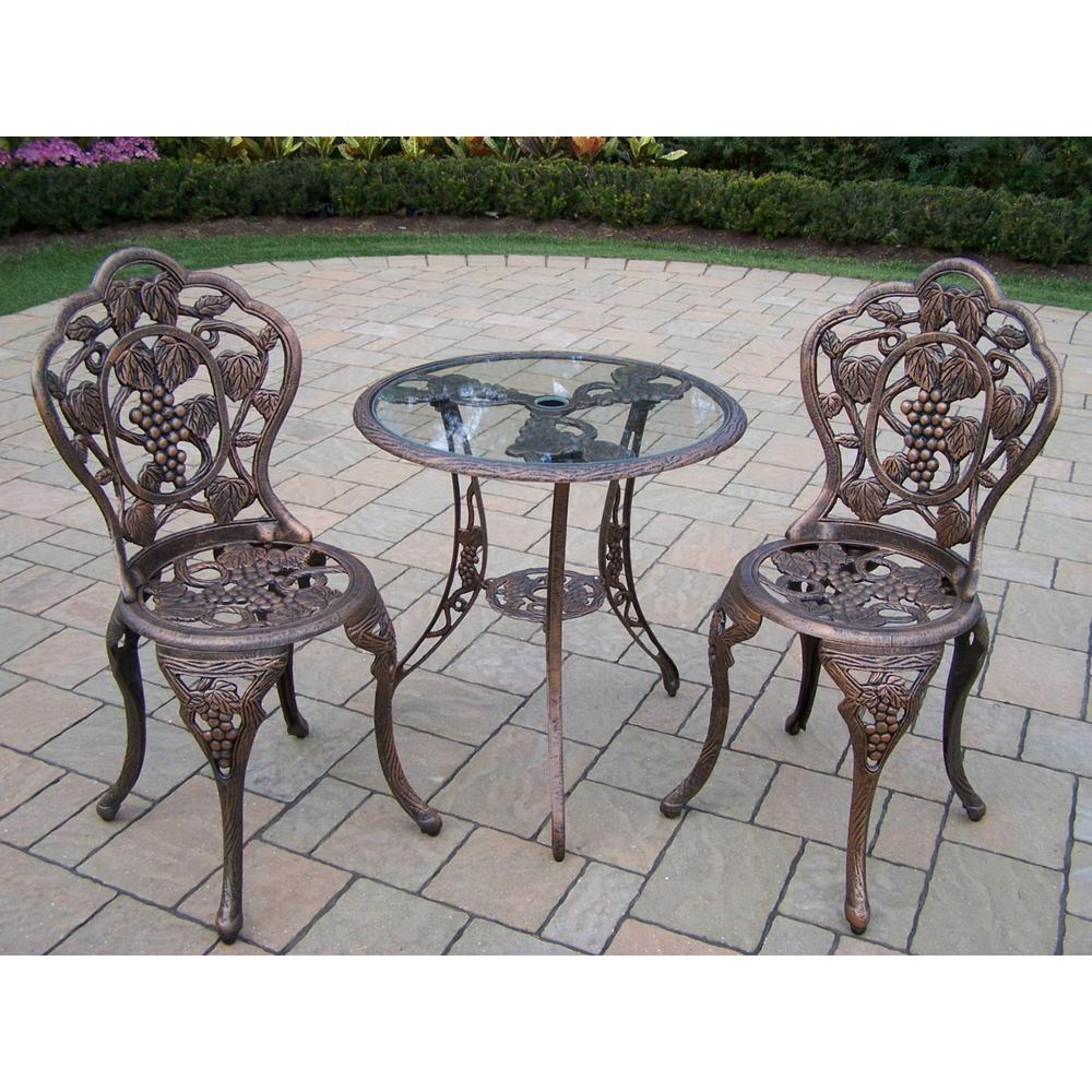 Oakland Living Vineyard Glass Top 3-Piece Patio Bistro Set