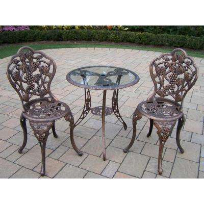 Vineyard Glass Top 3-Piece Patio Bistro Set