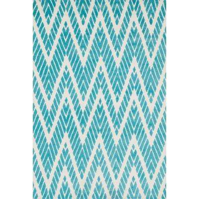 Cassidy Lifestyle Collection Aqua 3 ft. 6 in. x 5 ft. 6 in. Area Rug