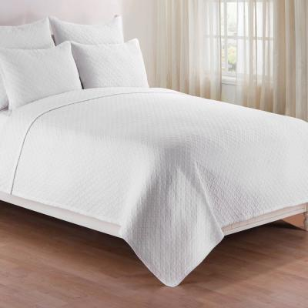 Basketweave 2-Piece White Twin Quilt Set