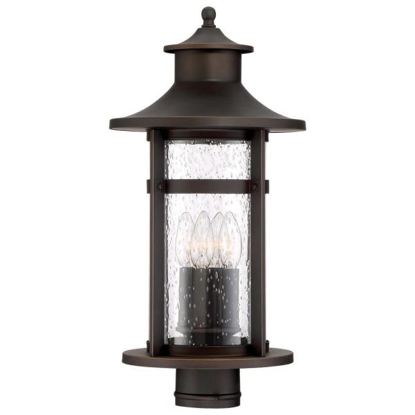 Highland Ridge Collection 3-Light Oil Rubbed Bronze with Gold Highlights Outdoor Post Mount Lantern