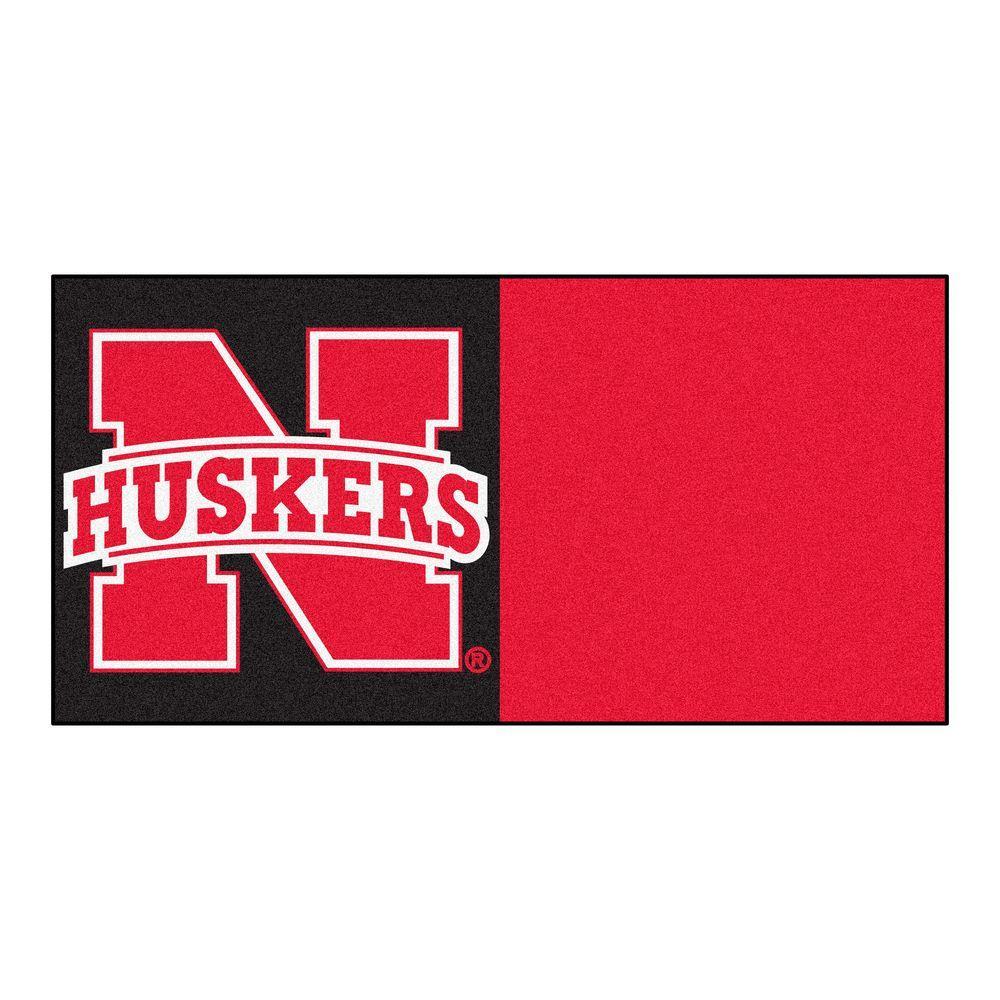 FANMATS NCAA - University of Nebraska Red and Black Nylon 18 in. x 18 in. Carpet Tile (20 Tiles/Case)