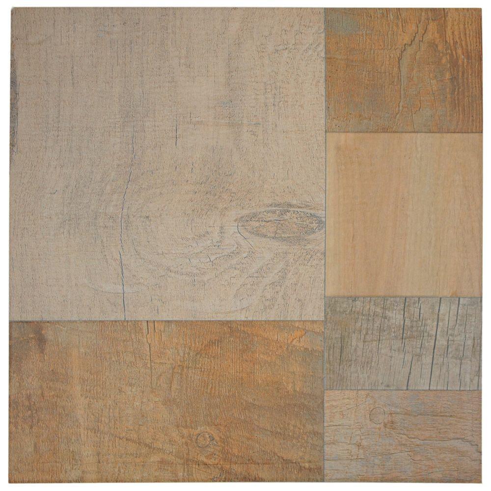 Merola Tile Plank Beige 17-3/8 in. x 17-3/8 in. Porcelain Floor and Wall Tile (17 sq. ft. / case)