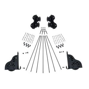 Quiet Glide Unfinished Red Oak and Black Ladder/Rail/Rolling Brake Hardware Kit by Quiet Glide