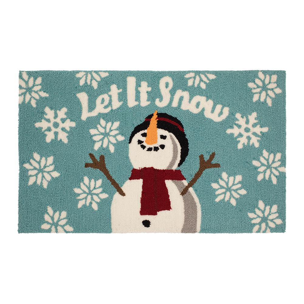 Christmas Hand Hooked Doormat Holiday Entryway Decor 18x30 Snowman