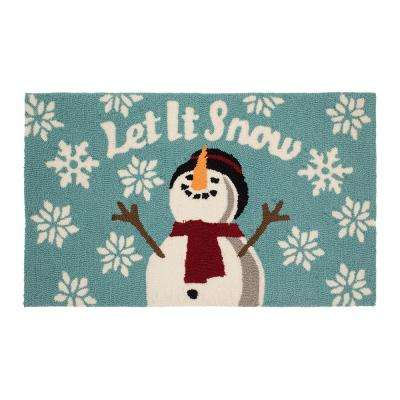 Let It Snow 18 in. x 30 in. Hand Hooked Door Mat