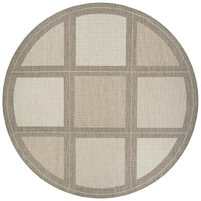 Recife Summit Champagne-Taupe 7 ft. 6 in. x 7 ft. 6 in. Round Indoor/Outdoor Area Rug
