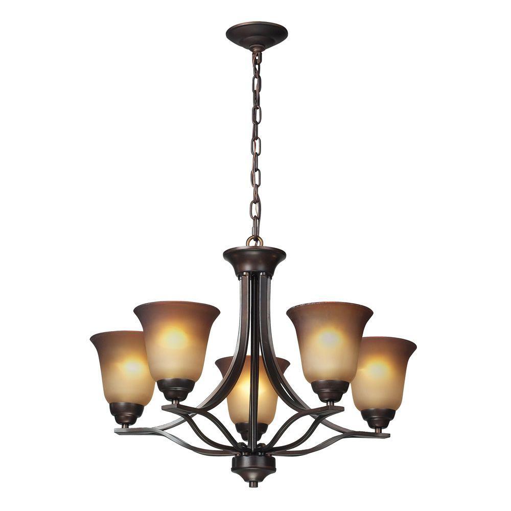 Titan Lighting Malaga 5-Light Ceiling Aged Bronze Chandelier