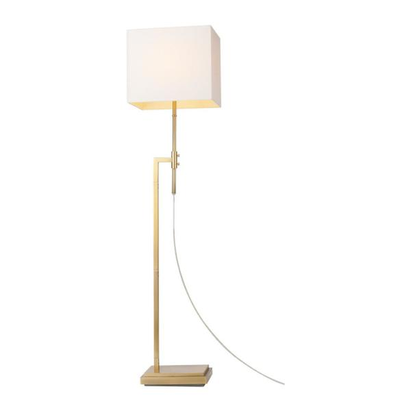 63 in. Lockhart Soft Gold Adjustable Height Floor Lamp with Rectangular White Fabric Shade
