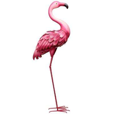 35 in. H Flamingo Metal Lawn Decor in Pink