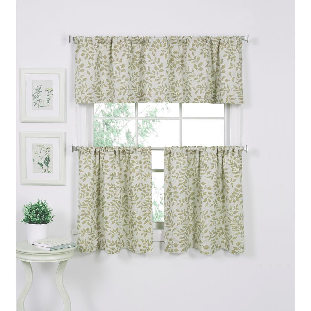 Serene 30 in. W x 36 in. L Cotton Kitchen Tiers in Sage (Set of 2)