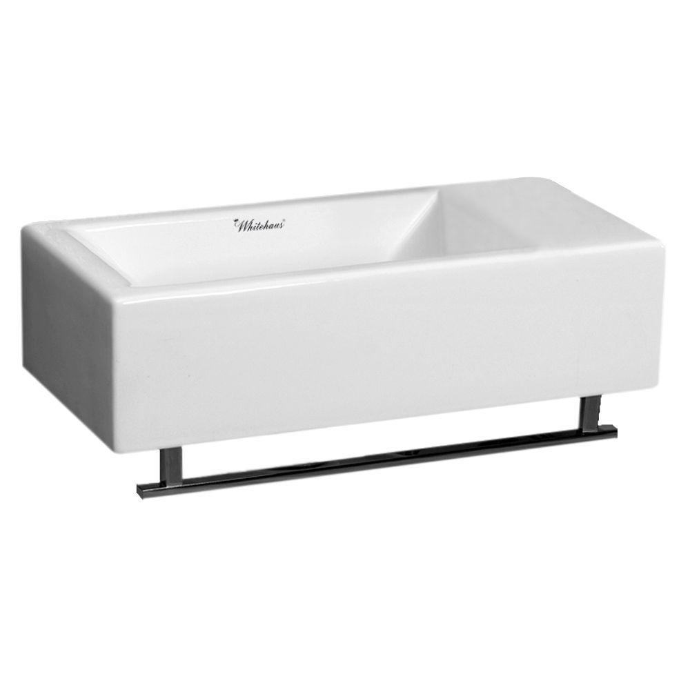 whitehaus collection isabella wallmounted bathroom sink in white with towel bar