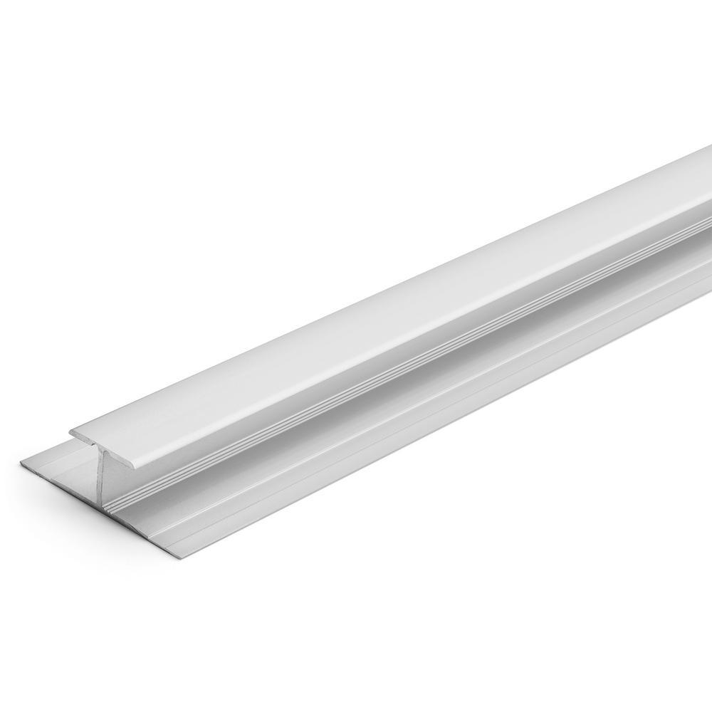 5.5 mm Satin Silver 1-1/4 in. x 84 in Aluminum LVT T-Shape Tab Down Transition Strip