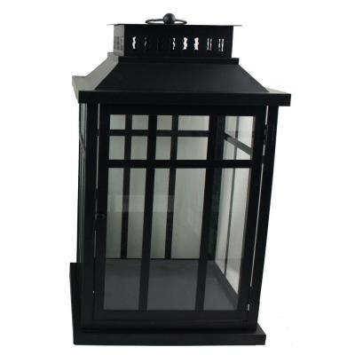 17 in. Metal Mission Lantern in Black