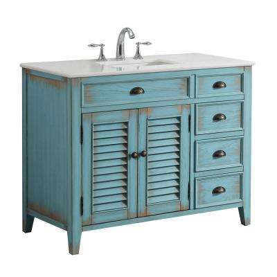 Palm Beach 42 in. W x 21.75 in. D Vanity in Distressed Blue with Marble Vanity Top in White with White Basin