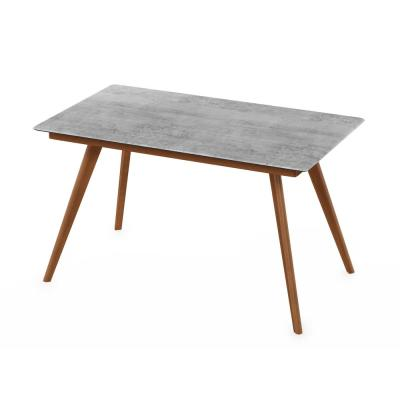 Redang Cement 4-Leg Rectangular Wood Outdoor Dining Table with Smart Top