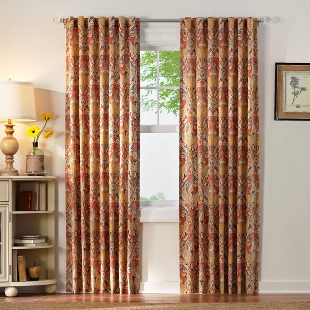 Home Decorators Collection Paisley Light Filtering Window Panel in Multi -  54 in. W x 84 in. L