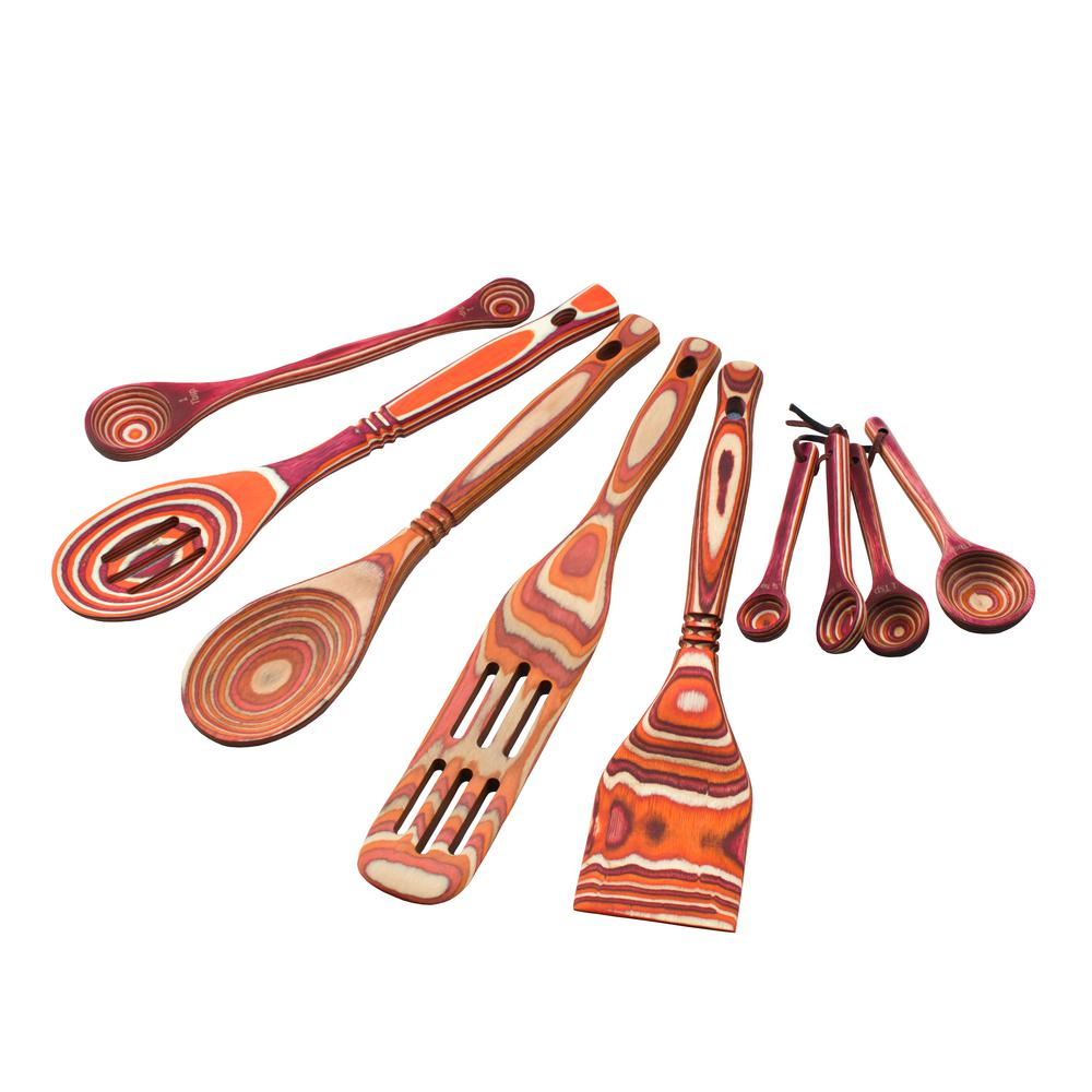 Island Bamboo Pakka 6-Piece Red Utensil Set