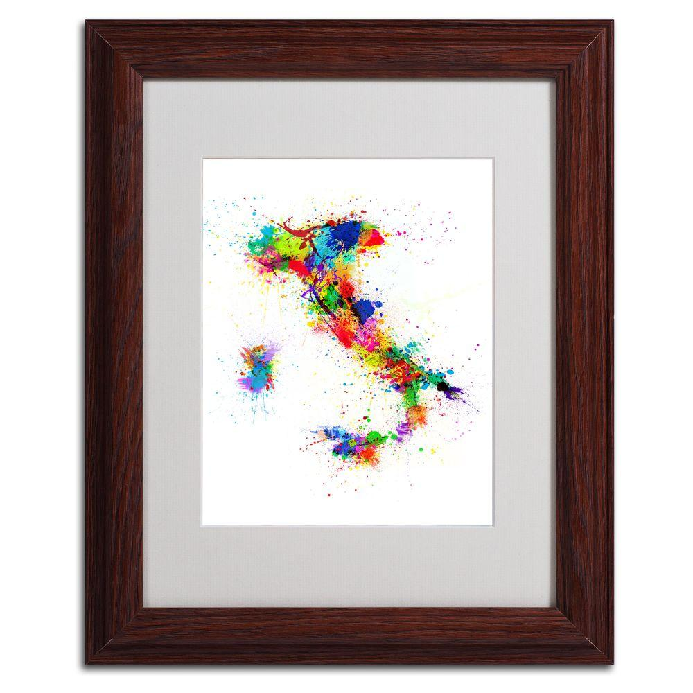 11 in. x 14 in. Italy Paint Splashes Map Matted Framed