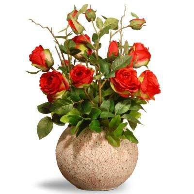 18 in. Red Roses in Ceramic Pot