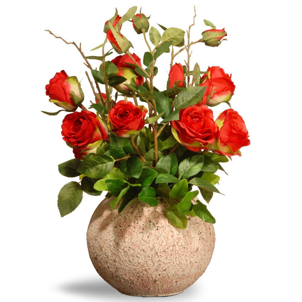 Red Roses In Ceramic Pot
