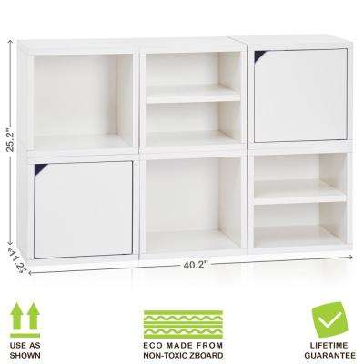 Connect System 40.2 in. W x 25.2 in. H zBoard Paperboard Modular Eco Stackable 6-Cube Cubby Organizer in Natural White