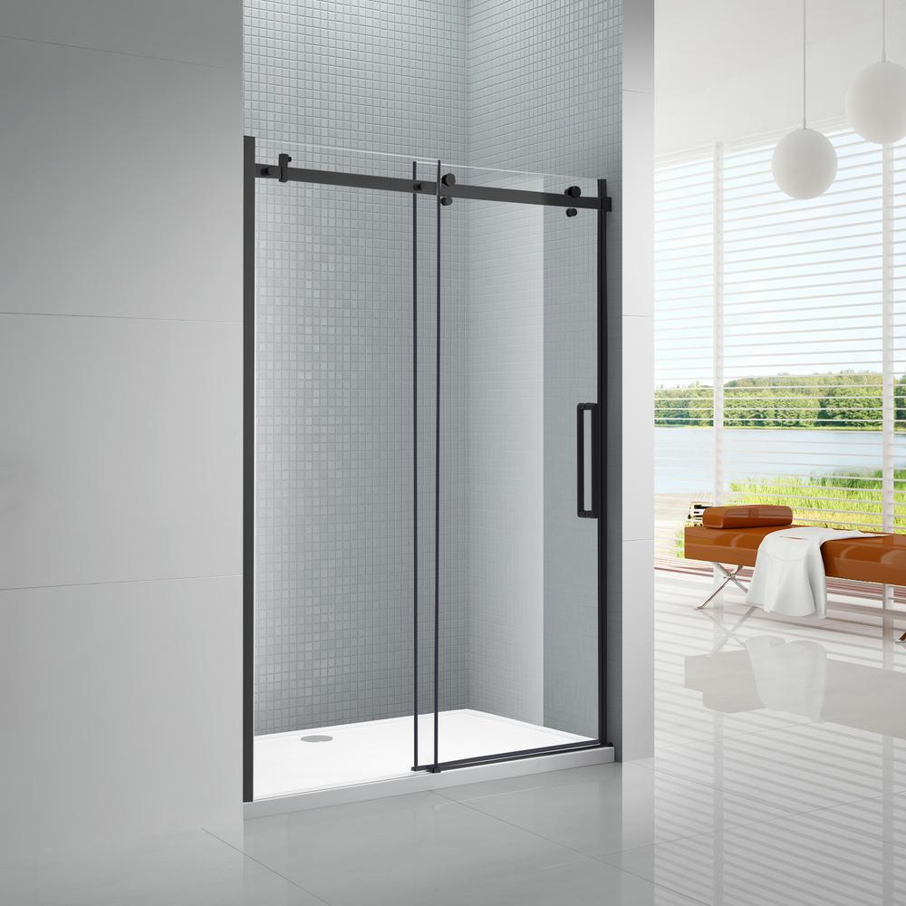 Primo 60 in. x 78 in. Frameless Sliding Shower Door in Black with 60 in. x 36 in. Acrylic Shower Base in White