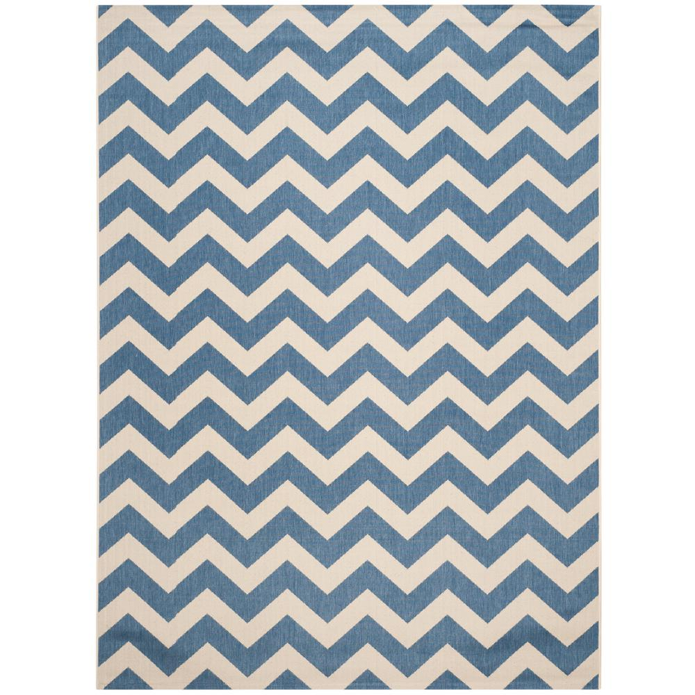 Safavieh Courtyard Blue/Beige 8 ft. x 11 ft. Indoor/Outdoor Area Rug
