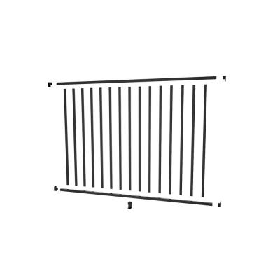Aquatine 1/2 in. x 72 in. x 4 ft. Black Aluminum Pool Fence Rail and Picket Kit