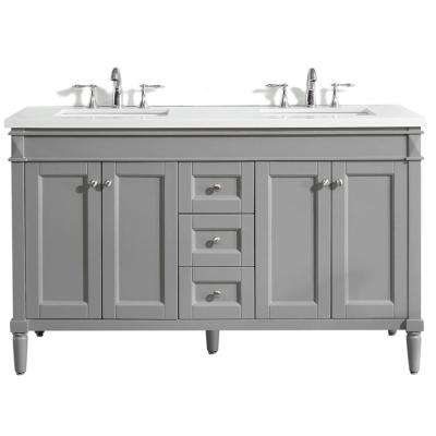 Catania 60 in. W x 22 in. D Vanity in Grey with Quartz Vanity Top in White with White Basin