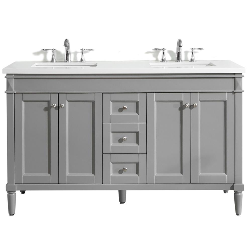 Catania 60 In W X 22 D Vanity Grey With Quartz Top White Basin