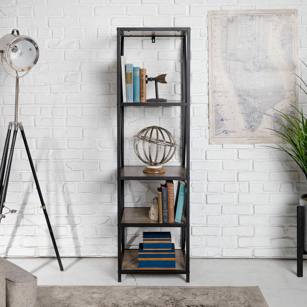 WalkerEdisonFurnitureCompany Walker Edison Furniture Company X-Frame Driftwood Metal and Wood Media Bookshelf, Brown