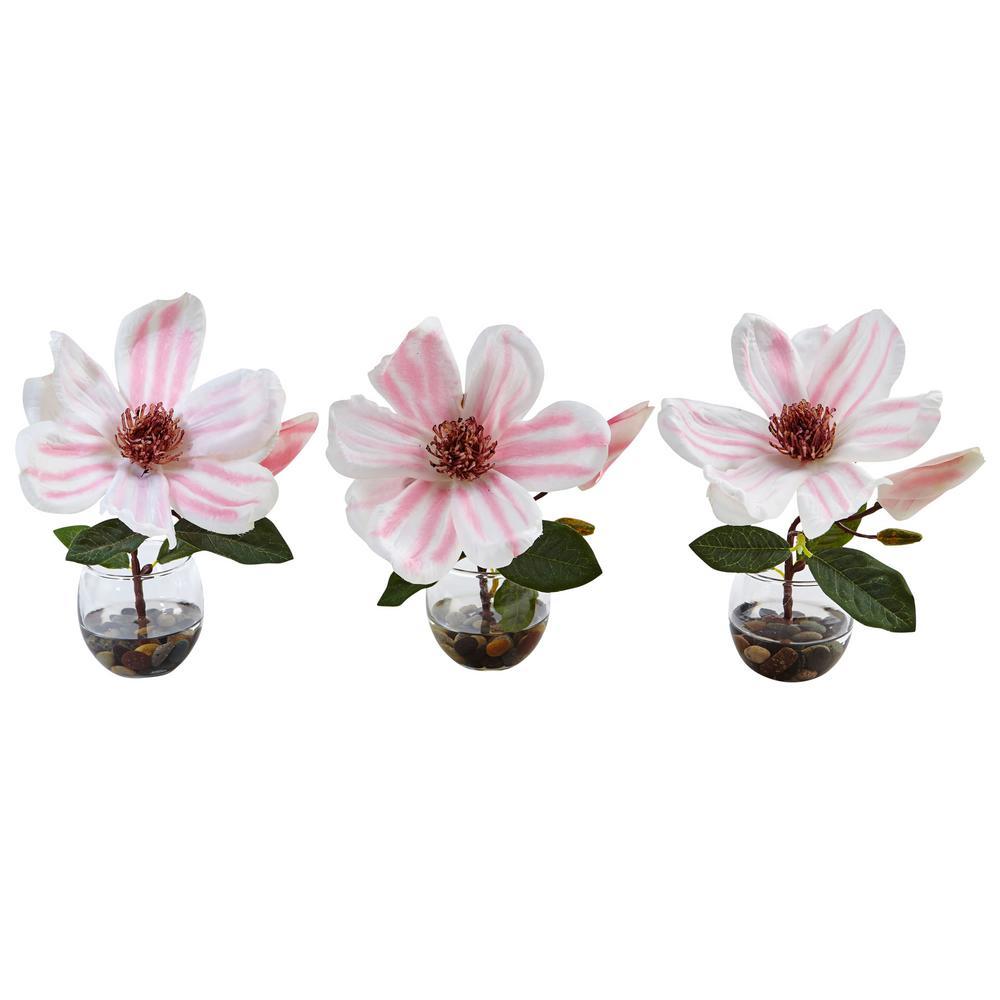 Nearly Natural Indoor Magnolia Silk Arrangement in Votive Glass Vases (Set