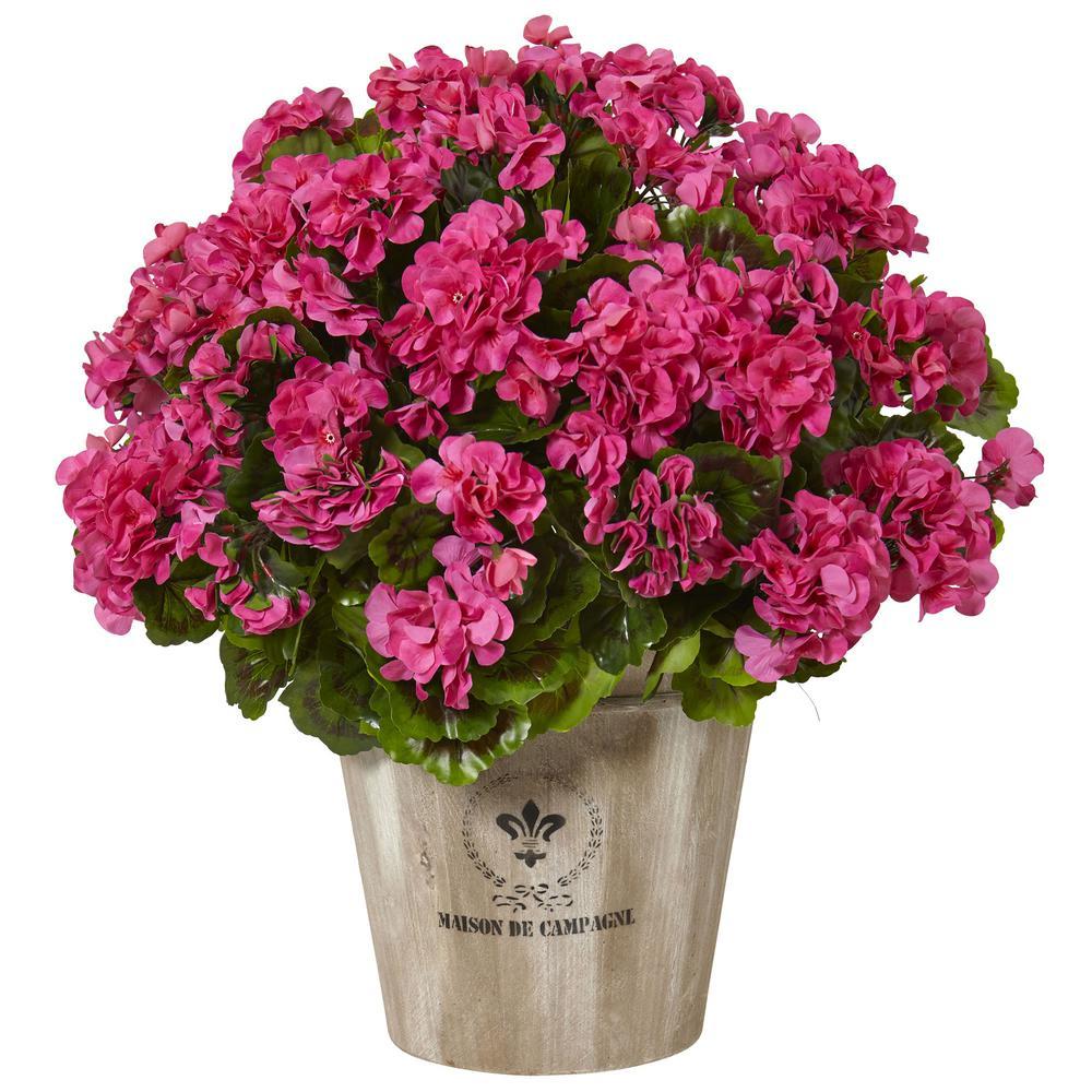 Indoor/Outdoor UV Resistant Pink Geranium Silk Flowering Plant in Farmhouse Planter