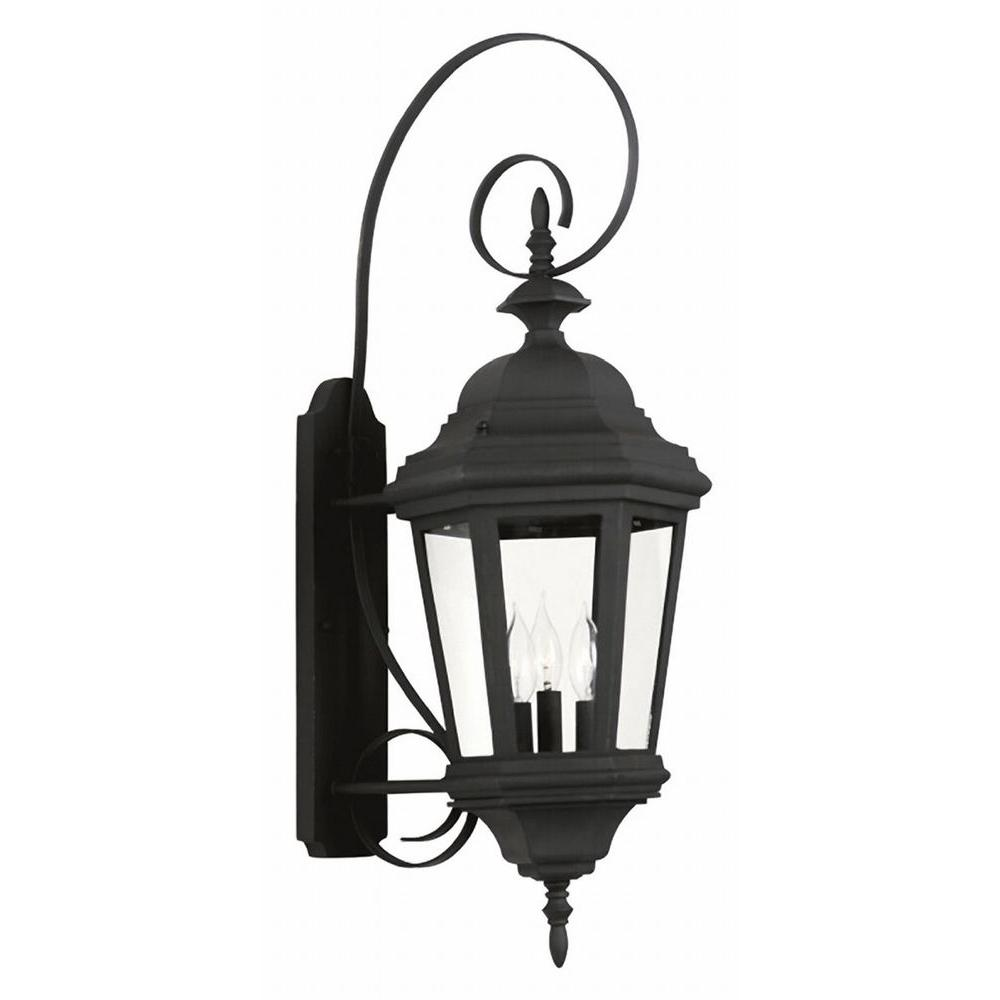 Kenroy Home Estate 3-Light Black Outdoor Large Wall Lantern